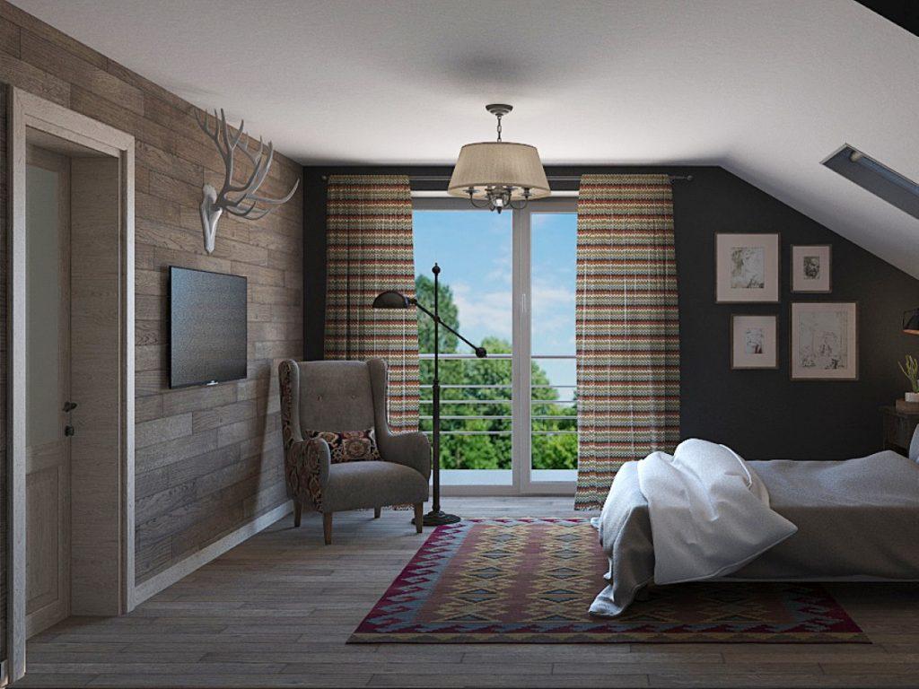 інтерєр кімнати з балконом