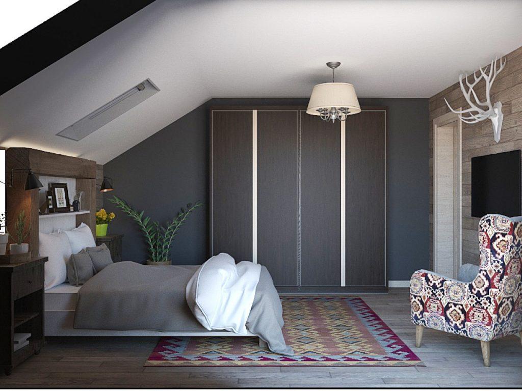 інтерєр спальні із сірою шафою купе